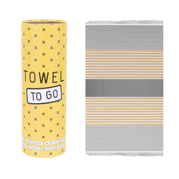 Towel to go Towel to Go Bali grijs/mosterd met geschenk box