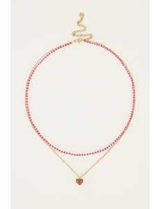 My Jewellery My Jewellery - Fuchsia dubbele kralenketting met hartje