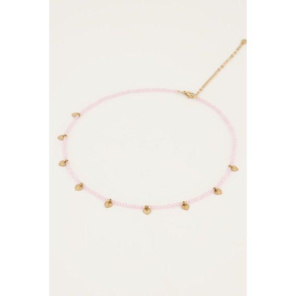 My Jewellery My Jewellery - Roze kralenketting met hartjes