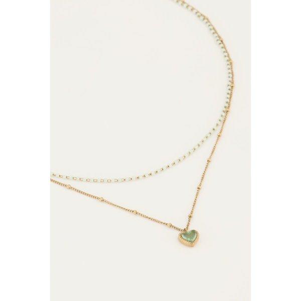 My Jewellery My Jewellery - Groene dubbele kralenketting met hartje