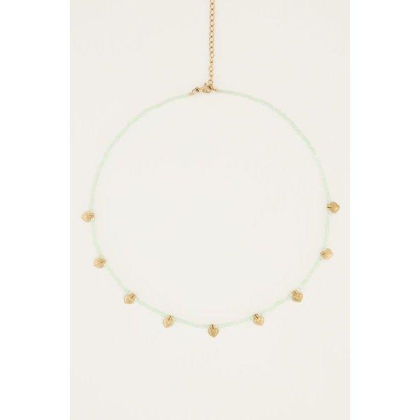 My Jewellery My Jewellery - Mintgroene kralenketting met hartjes