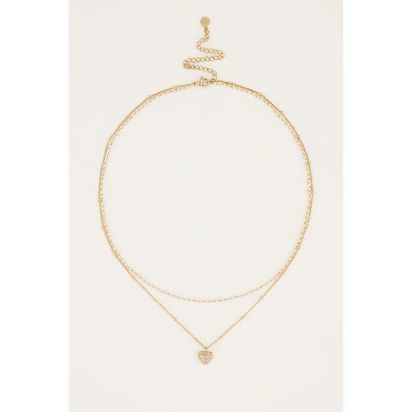 My Jewellery My Jewellery - Beige dubbele kralenketting met hartje