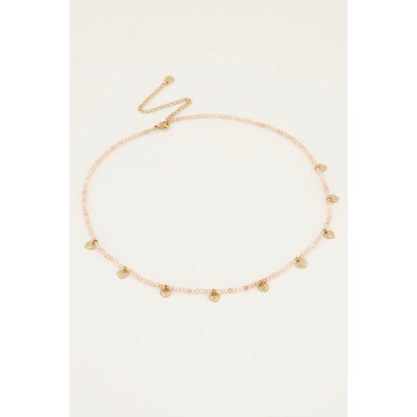 My Jewellery My Jewellery - Beige kralenketting met hartjes