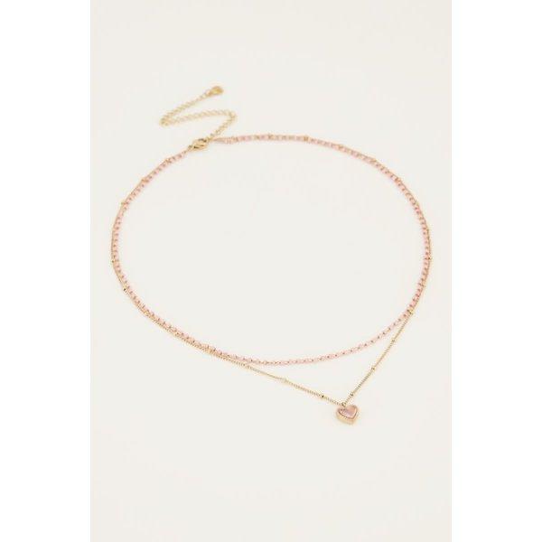 My Jewellery My Jewellery - Roze dubbele kralenketting met hartje