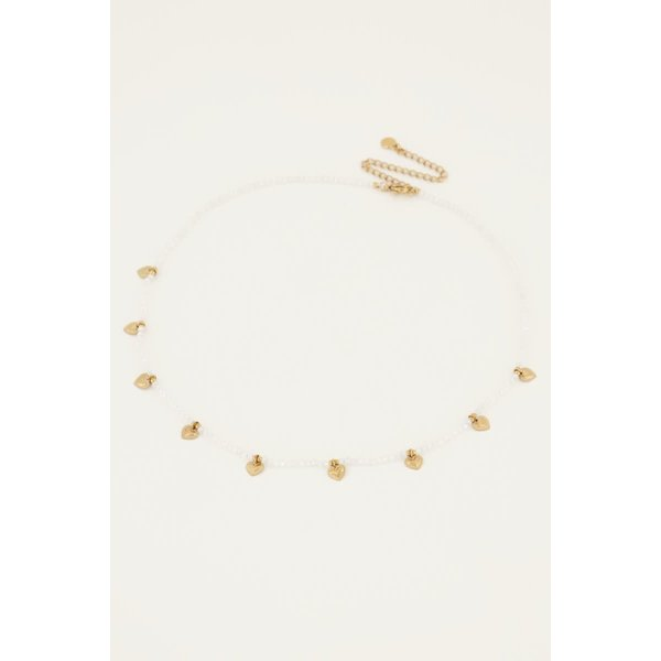 My Jewellery My Jewellery - Grijze kralenketting met hartjes