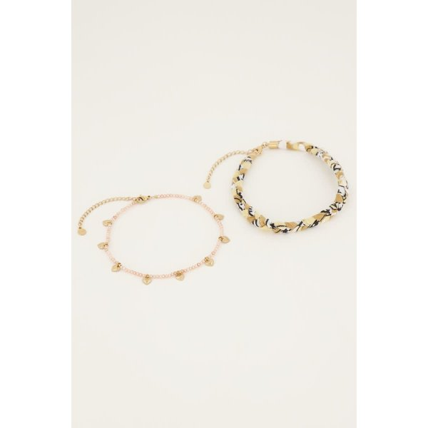 My Jewellery My Jewellery - Beige gevlochten enkelband set