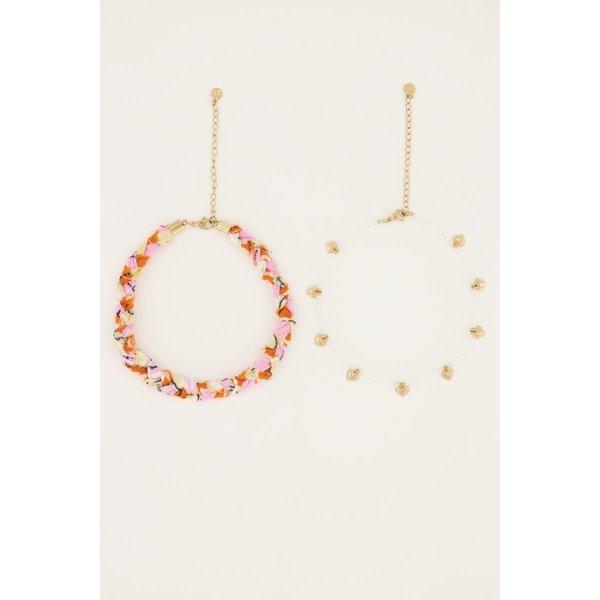 My Jewellery My Jewellery - Oranje gevlochten enkelband set
