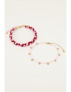 My Jewellery My Jewellery - Roze gevlochten enkelband set
