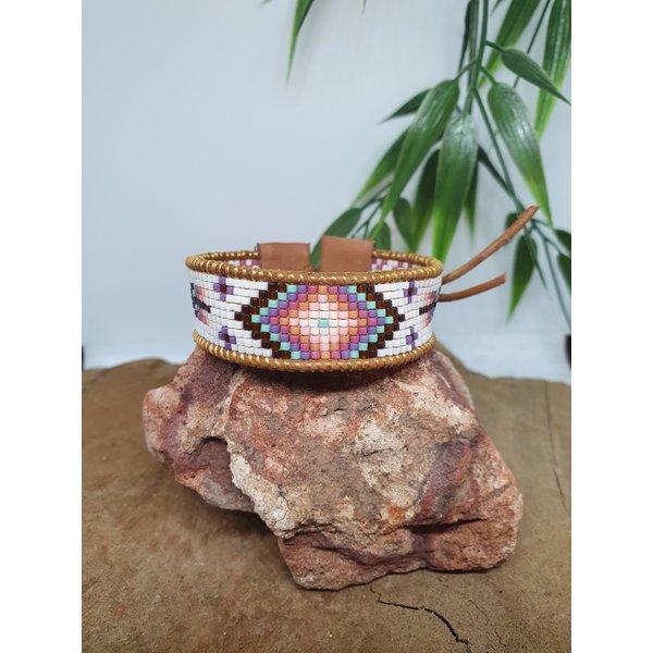 PerlasLindas Handgemaakte armband Paars Roze Miyuki 9