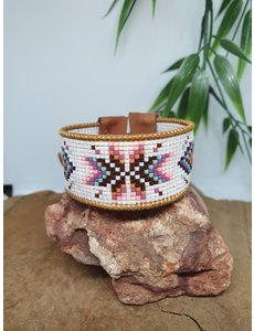 PerlasLindas Handgemaakte armband Paars Roze Miyuki 15 met lederen rand