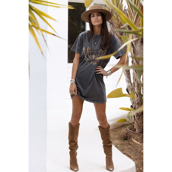 MOOST Wanted MOOST Wanted - Mia Eagle T-shirt/Dress Washed Grey