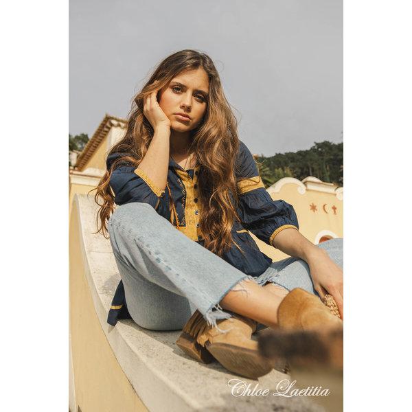Chloe Leatitia - Blouse Blauw-Goud