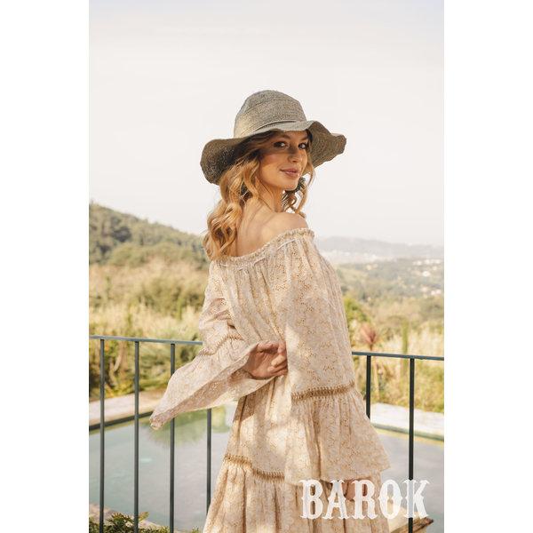 Barok - Offshoulder midi jurk beige