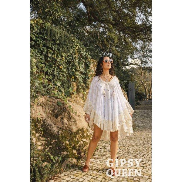 Gypsy Queen - Witte Tuniek met kanten accenten