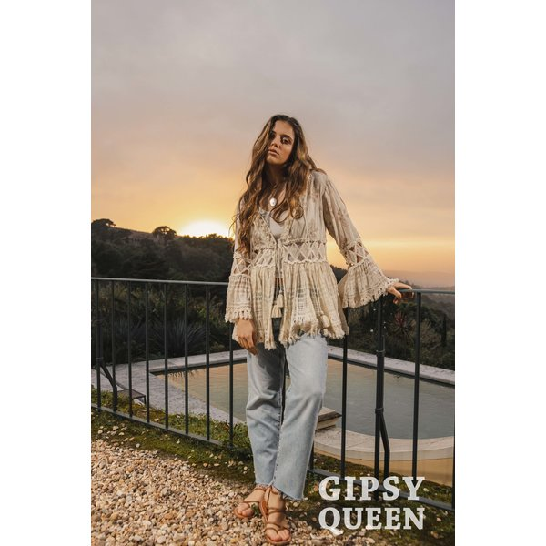 Gypsy Queen - Beige Tuniek met franjes