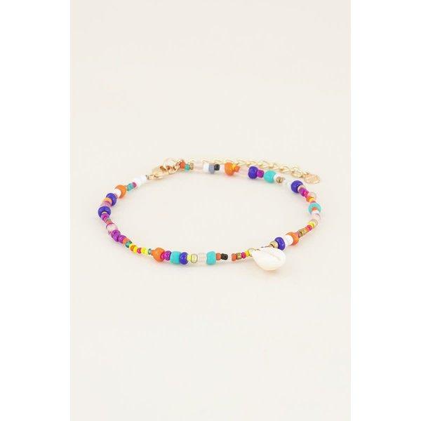 My Jewellery My Jewellery Enkelbandje kralen & witte schelp