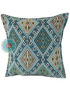 Esperanza Deseo Kussen Kelim turquoise en wit 45x45