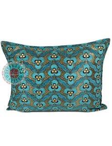 Esperanza Deseo Kussen Turquoise pansy flowers 50x70