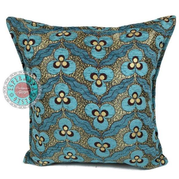 Esperanza Deseo Kussen Turquoise pansy flowers 45x45
