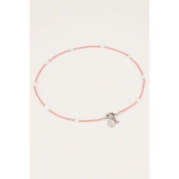 My Jewellery My Jewellery Roze kralen ketting met slotje & bedels