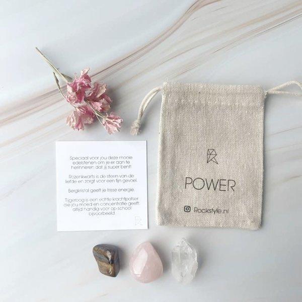 POWER *rozenkwarts * bergkristal * tijgeroog*