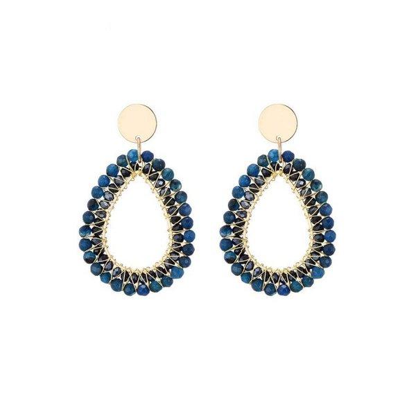 Oorbellen shiny drop blauw