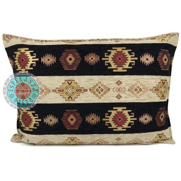 Esperanza Deseo Kussen Aztec stripes zwart crème 50x70