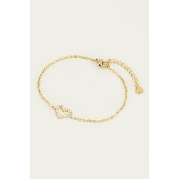 My Jewellery My Jewellery - Armband open hart steentjes goud