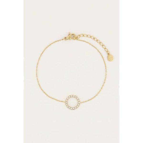 My Jewellery My Jewellery - Armbandje open rondje strass goud