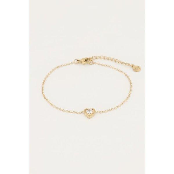 My Jewellery My Jewellery - Armbandje strass hartje goud