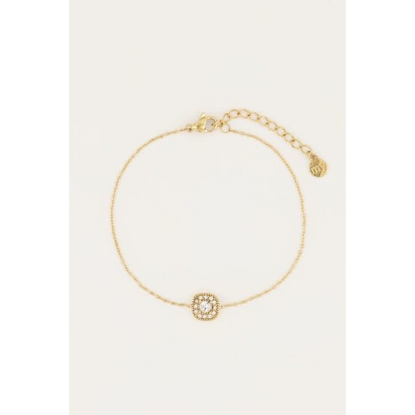 My Jewellery My Jewellery - Armbandje vierkant strass goud