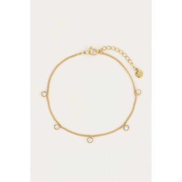 My Jewellery My Jewellery - Armbandje vijf strass steentjes Goud