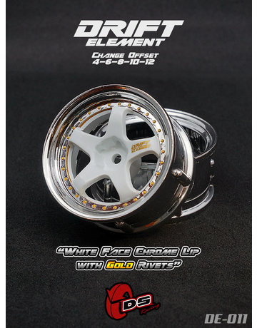 DS Racing DE-011,-DS RACING, White Face Chrome Lip with Gold Rivets (2)