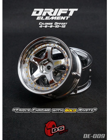 DS Racing DE-009,-DS RACING, Triple Chrome with Gold Rivets (2)