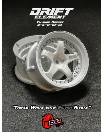 DS Racing DE-003,-DS Racing Triple White with Silver Rivets ( 2 )