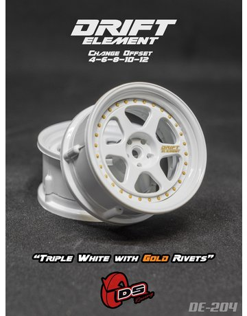 DS Racing DE-204,-DS RACING, Adj. Offset /  Triple White with Gold Rivets
