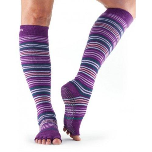 ToeSox Half-Toe with Grip SCRUNCH Knee-High in: Phlox/Stripe
