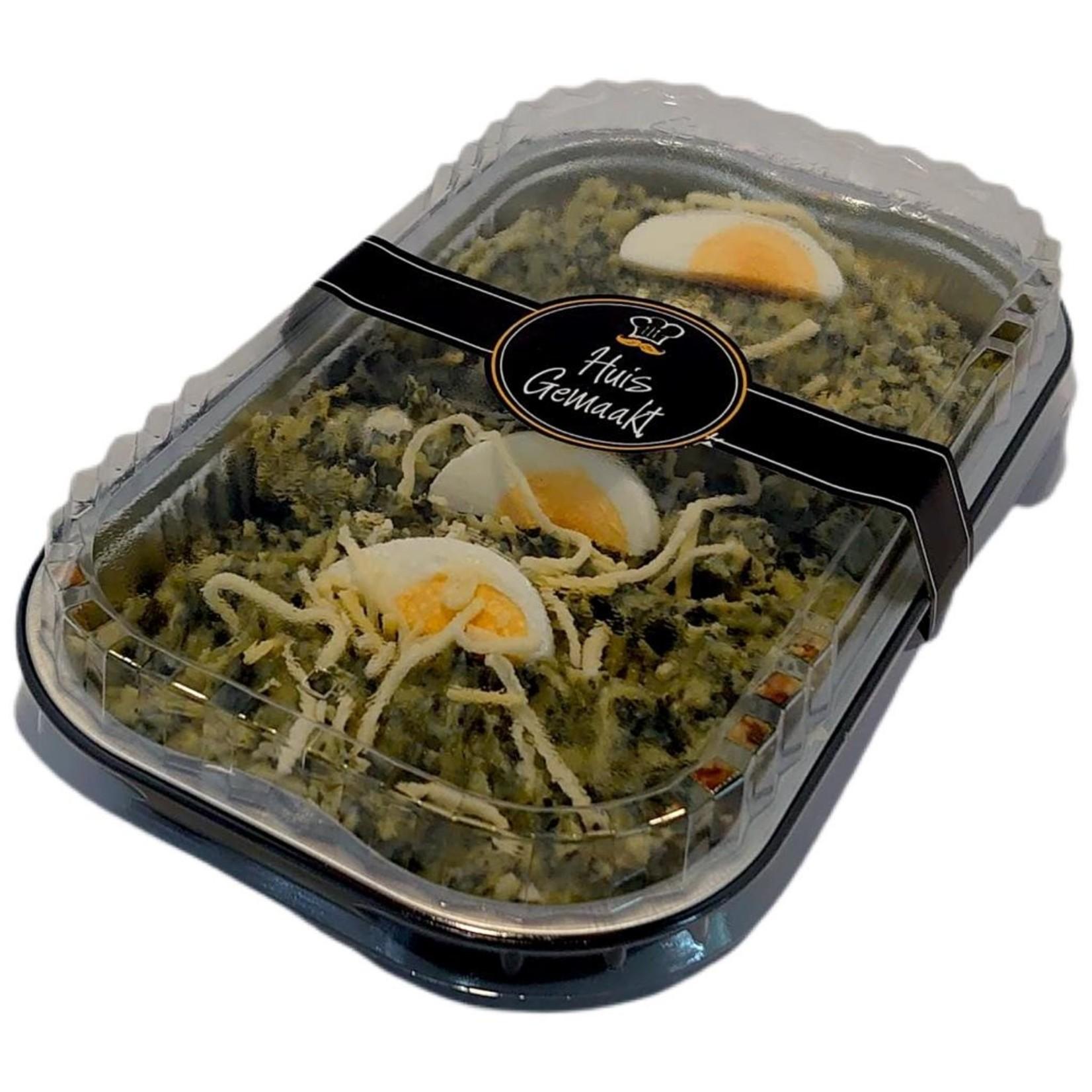 Spinazie schotel met speklapjes | per maaltijd | (Slagerij Gerritschen)
