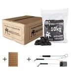 Kokosnootschaal briketten 1x 10kg + gratis aanmaakblokjes + gratis gereedschapset