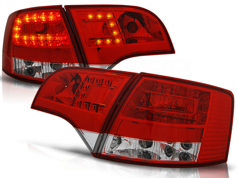 Tuning-Tec Achterlichten voor Audi A4 B7 11 04-03 08 AVANT ROOD HELDER LED