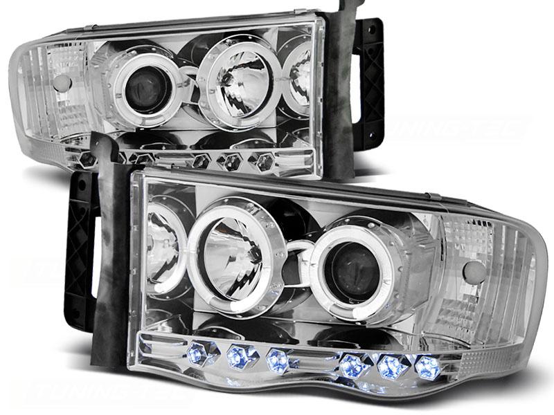 Tuning-Tec Koplampen dual halo rims DODGE RAM 02-06 ANGEL EYES CHROOM