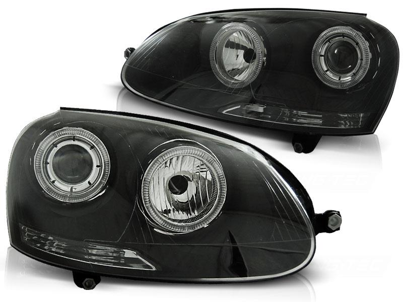 Tuning-Tec Koplampen dual halo rims voor VW GOLF 5 10 03-09 ANGEL EYES ZWART
