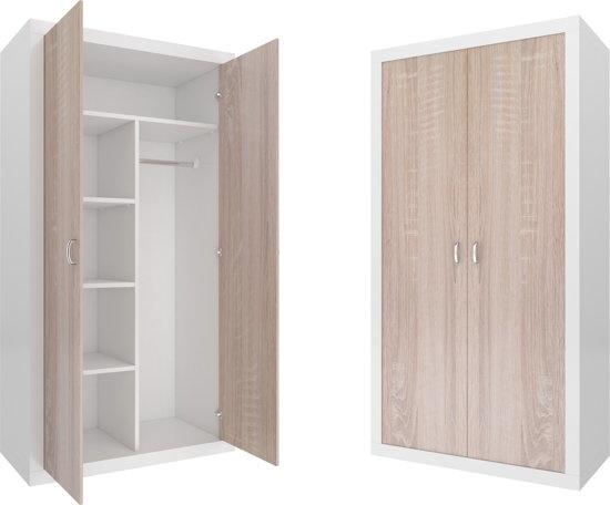 Viking Choice Kledingkast - 90x190x50 cm - wit/Pijnboom - 5 schappen - 2 deuren