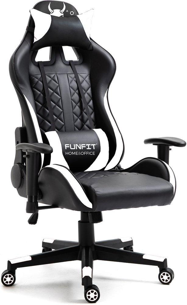Viking Choice Gaming bureaustoel - kunstleer zwart met wit - inc kussens