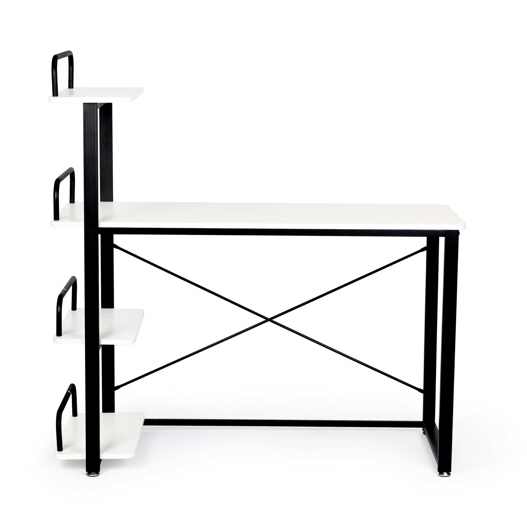 Viking Choice Bureautafel met boekenschappen - zwart met wit - 120 x 50 cm