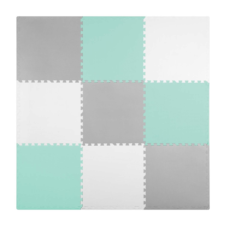 Viking Choice Kinder puzzelmat 180 x 180 cm - 9 stuks - grijs met mint