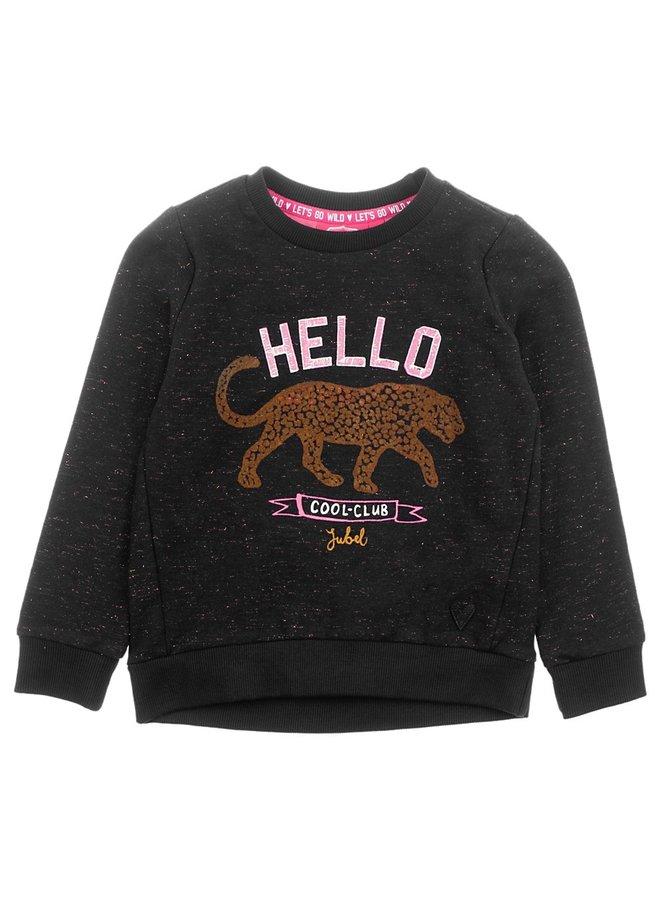 Sweater Hello - Animal Attitude Zwart