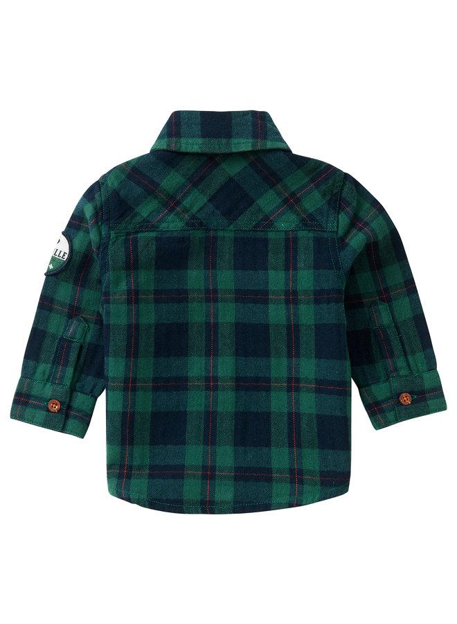 B Shirt LS Klipplaat CheckFarm Green. Maat 56