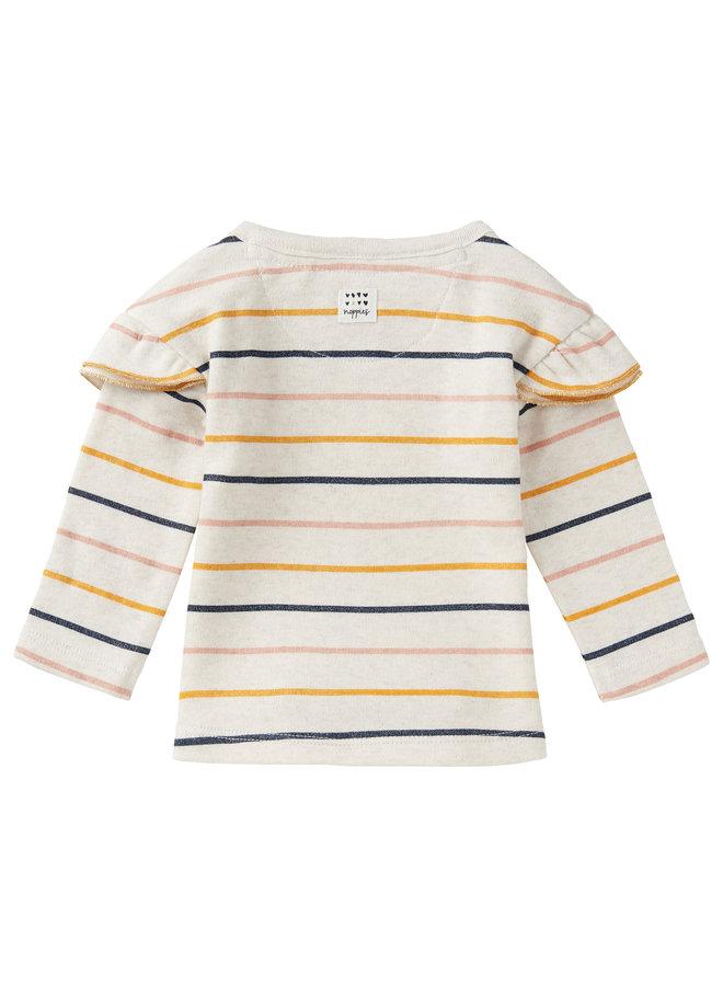 G Regular T-Shirt LS Rietfontein  Oatmeal maat 56