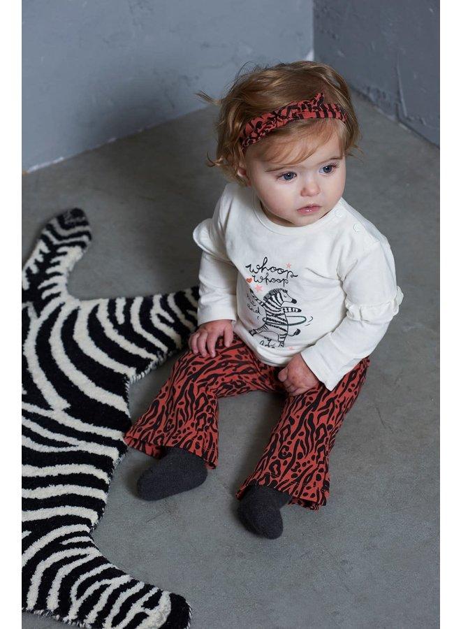 Flare broek - Zebra Brique maat 86